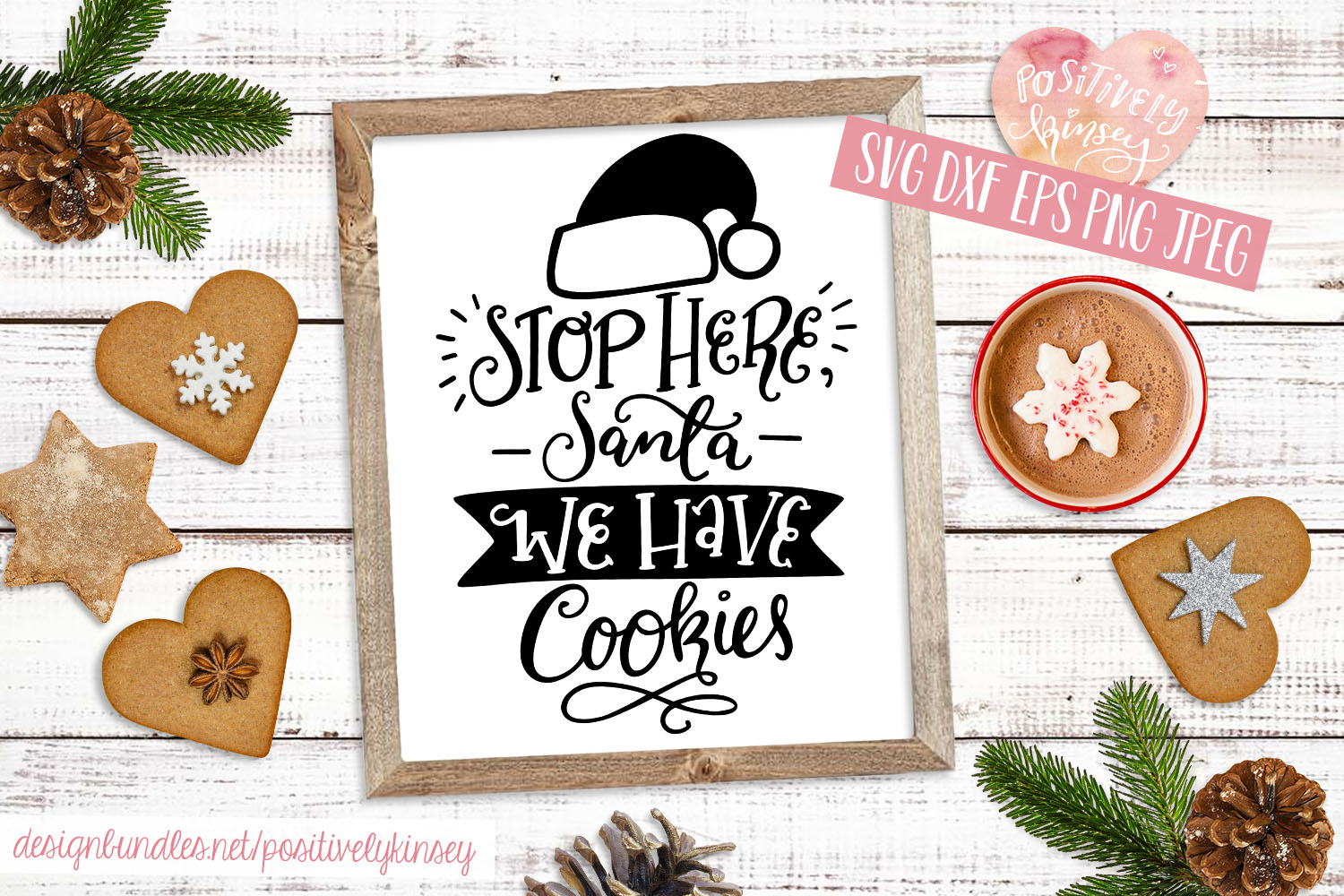 Stop Here Santa We Have Cookies SVG, Christmas Sign SVG example image 1