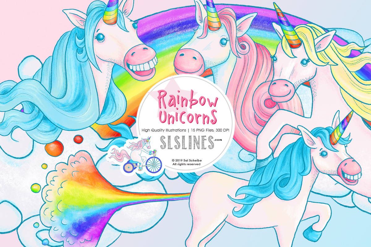 Rainbow Unicorn Illustrations, PNG files example image 1