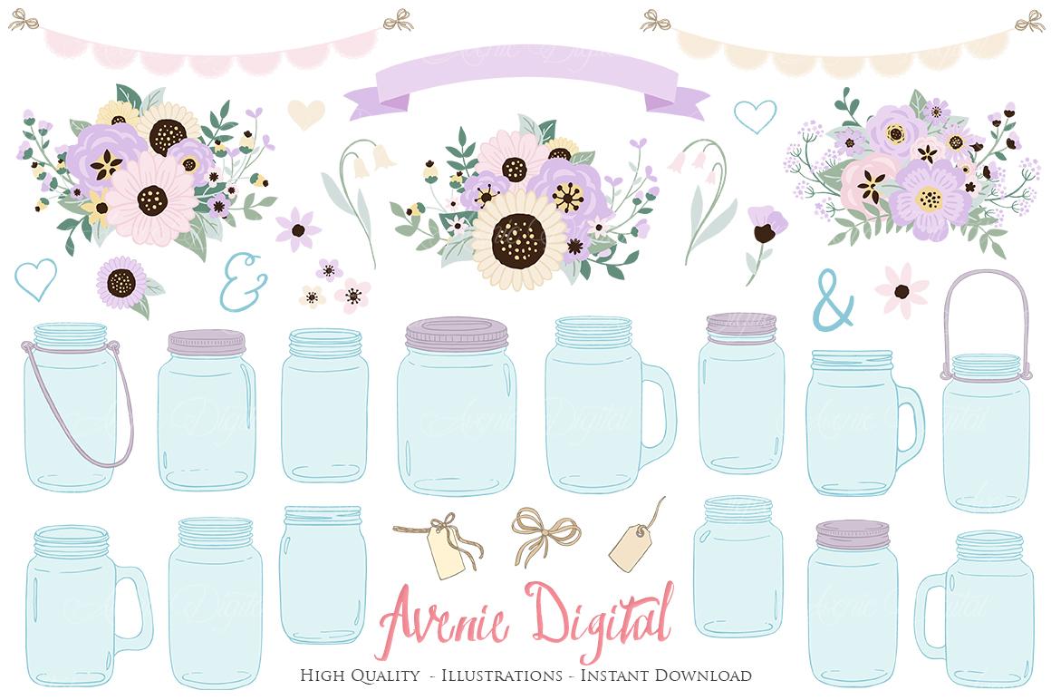 Lilac Mason Jar Floral Light Purple Wedding Clipart example image 1