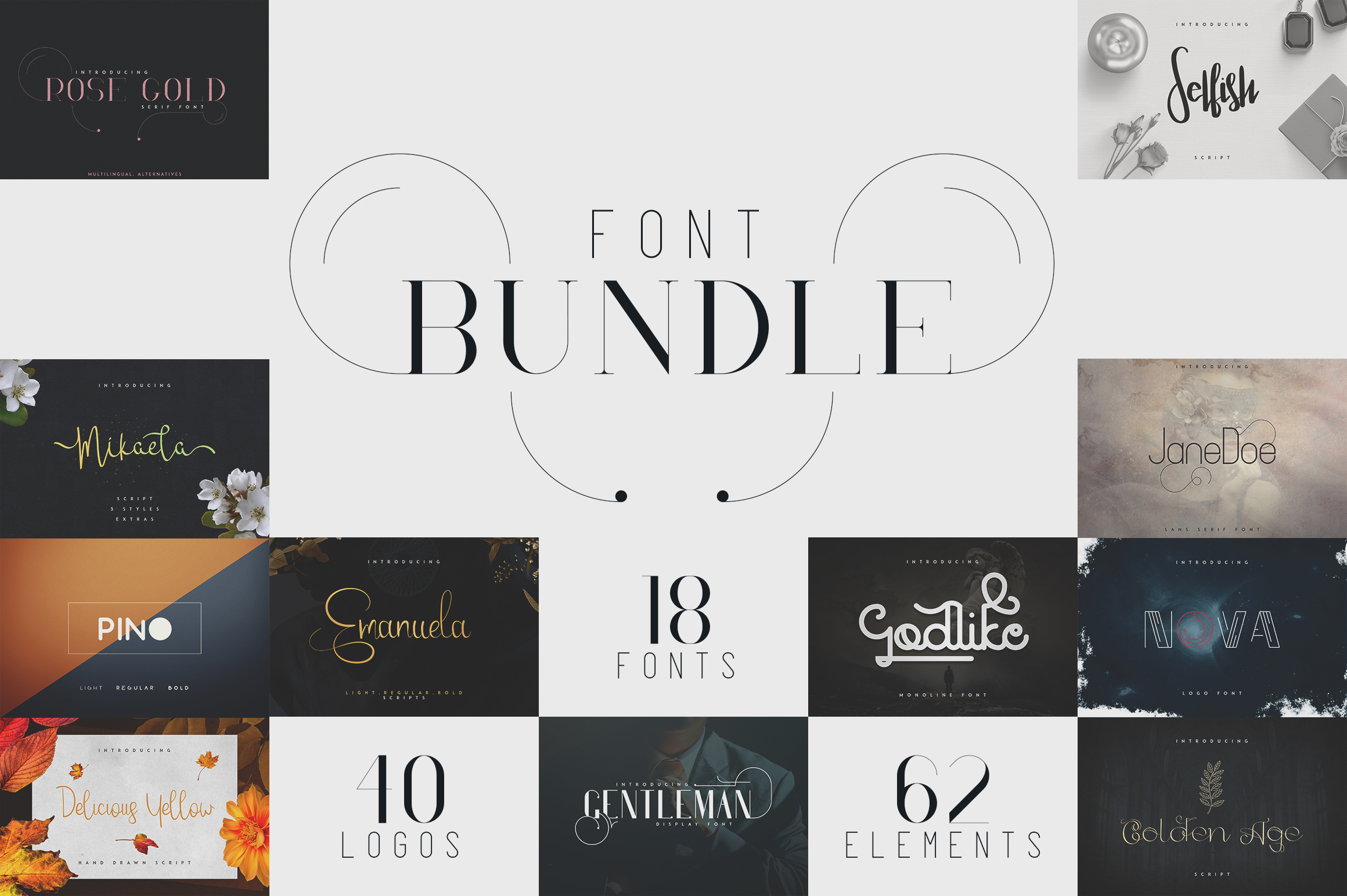 18in1 Font Bundle + Bonus | 87% off example image 1