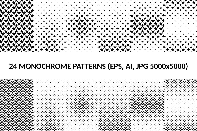 24 Star Patterns (AI, EPS, JPG 5000x5000) example image 1