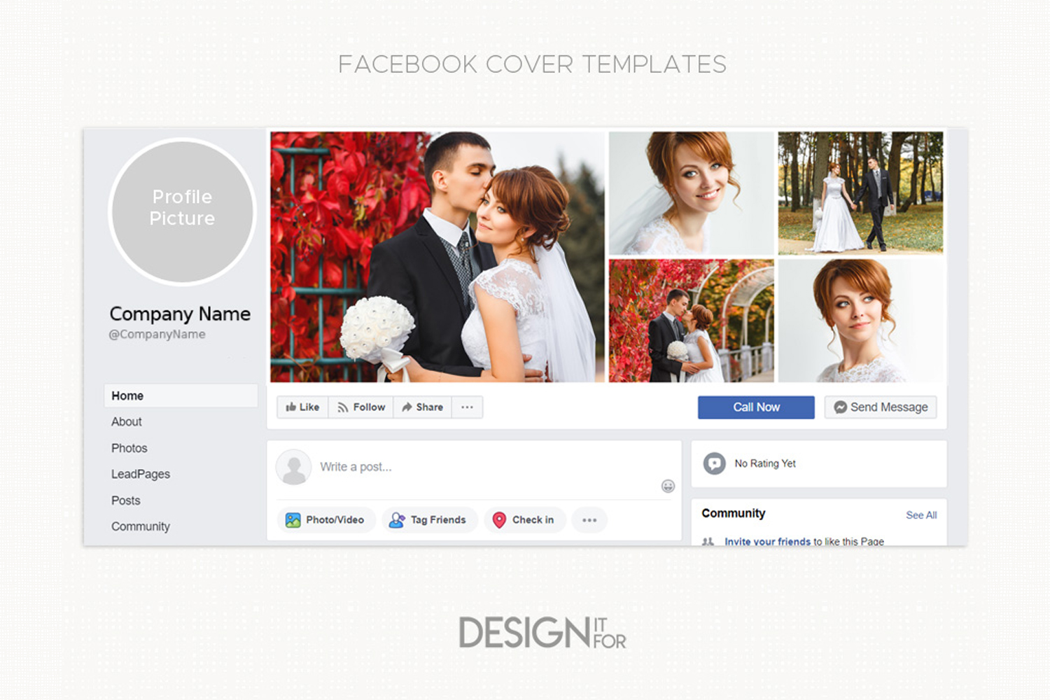 Facebook cover template, collage example image 2
