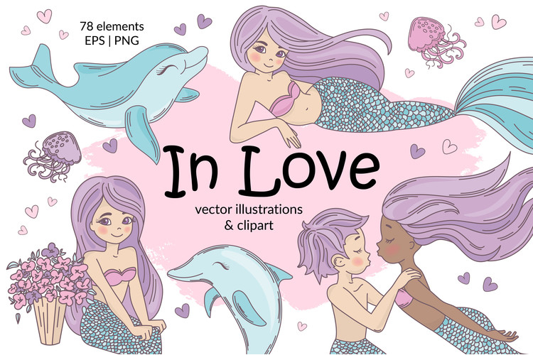 MERMAID IN LOVE Tropical Travel Vector Illustration Set example image 1