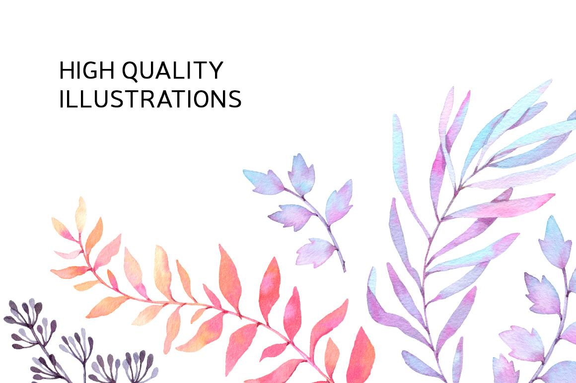Watercolor wonderful leaves. Violet example image 3