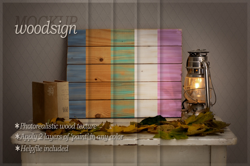 Woodsign mockup - romantic autumn interior example image 2
