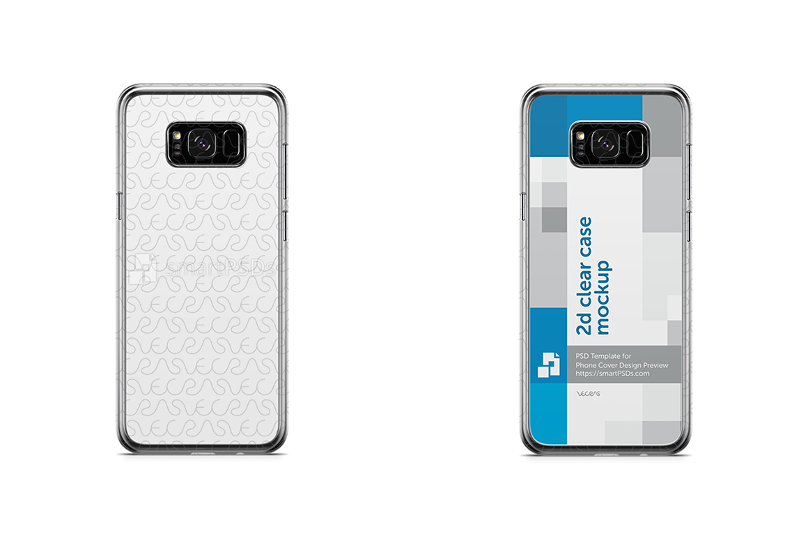 samsung galaxy s8 s8 plus 2d clear mobile case design mockup 2017