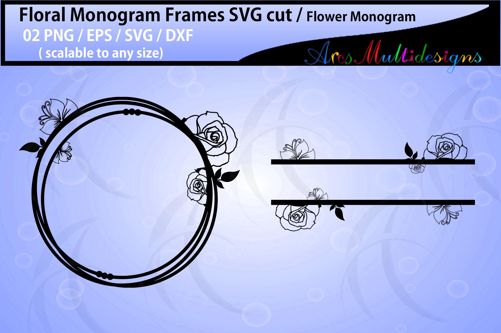 Floral Frames svg / Floral monogram frames / circle frames example image 1