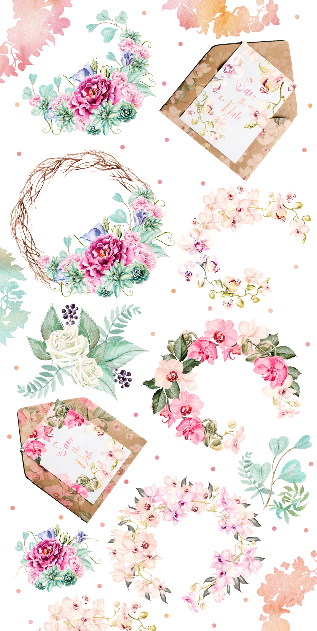 Watercolor Elements & Wreath example image 4