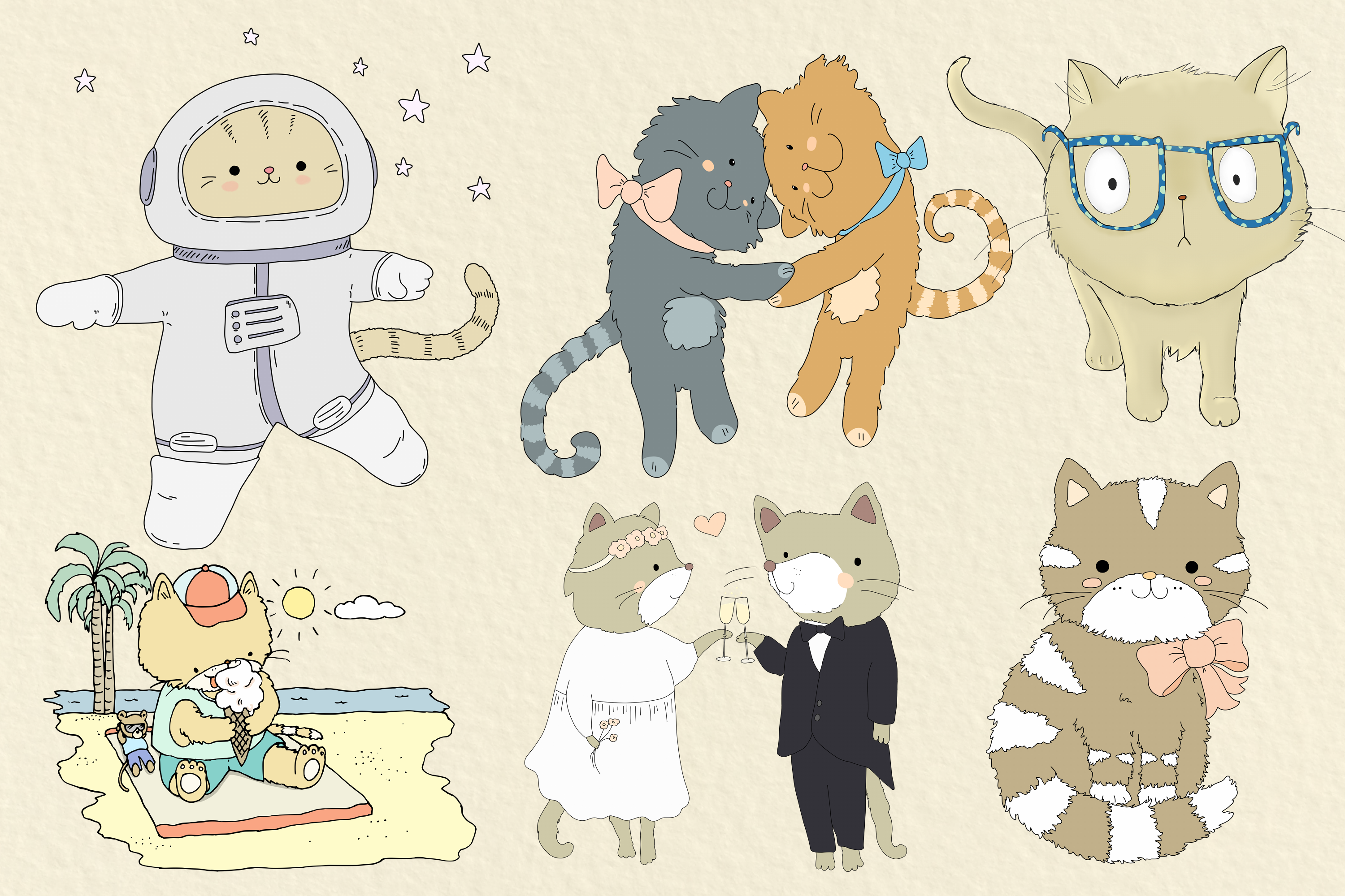 CATS | 20 Assorted PNG Clip Art Illustrations example image 2