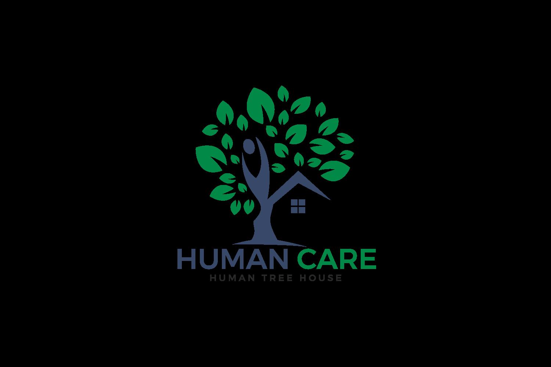 Human Care Logo Design. Tree House and joyful Human Icon. example image 2