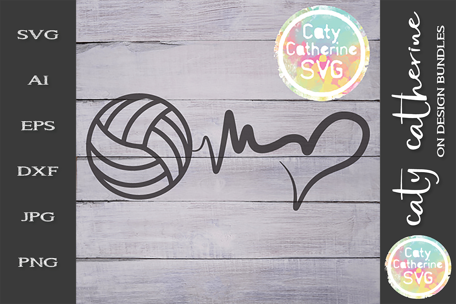 Heartbeat Love Heart Volleyball SVG Cut File example image 1