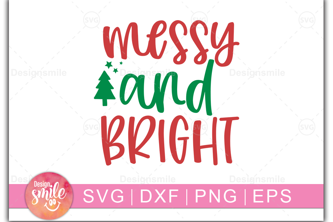Merry and Bright SVG DXF PNG EPS Cutting Files example image 1