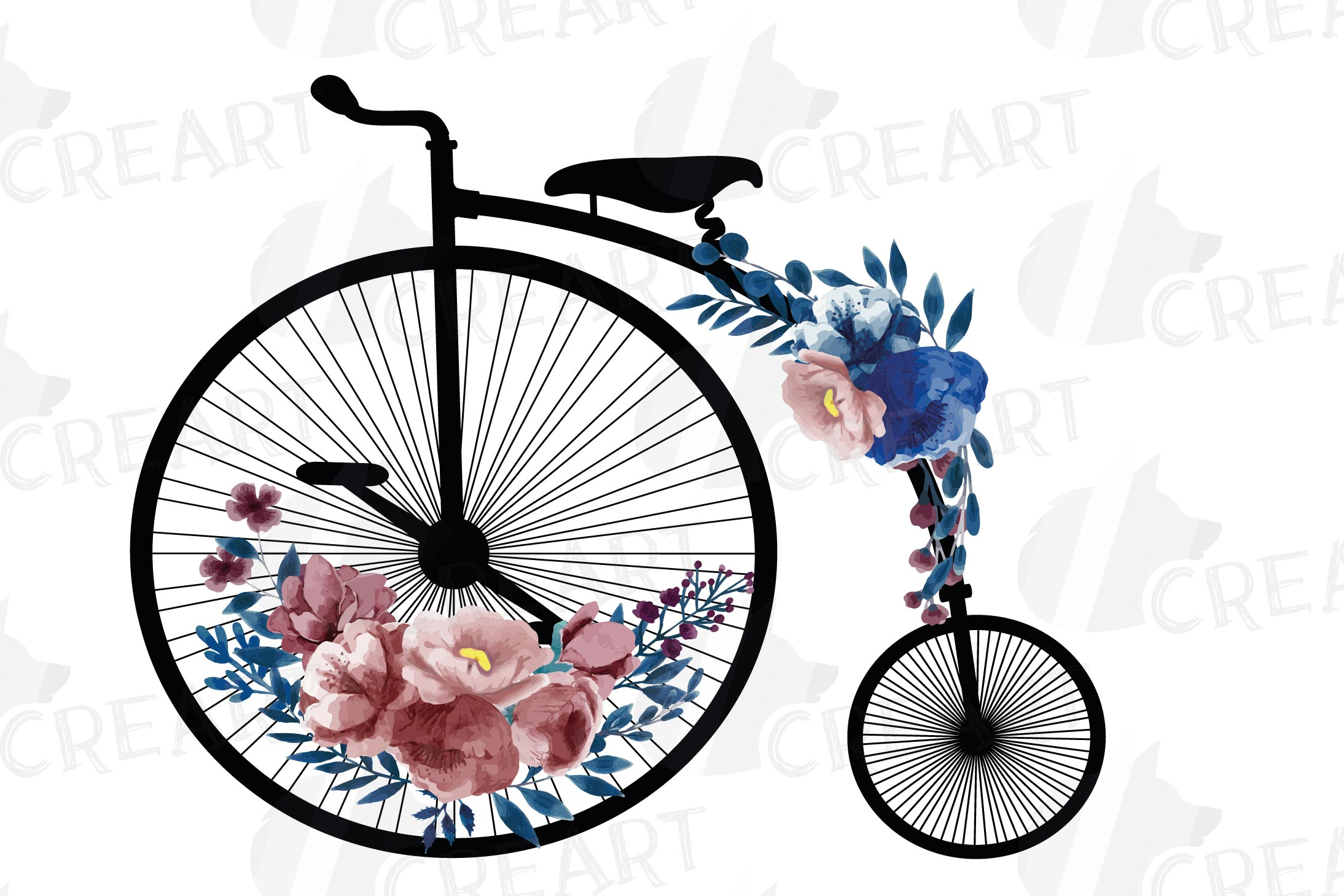 Navy blue and blush floral high wheelers clip art pack example image 3