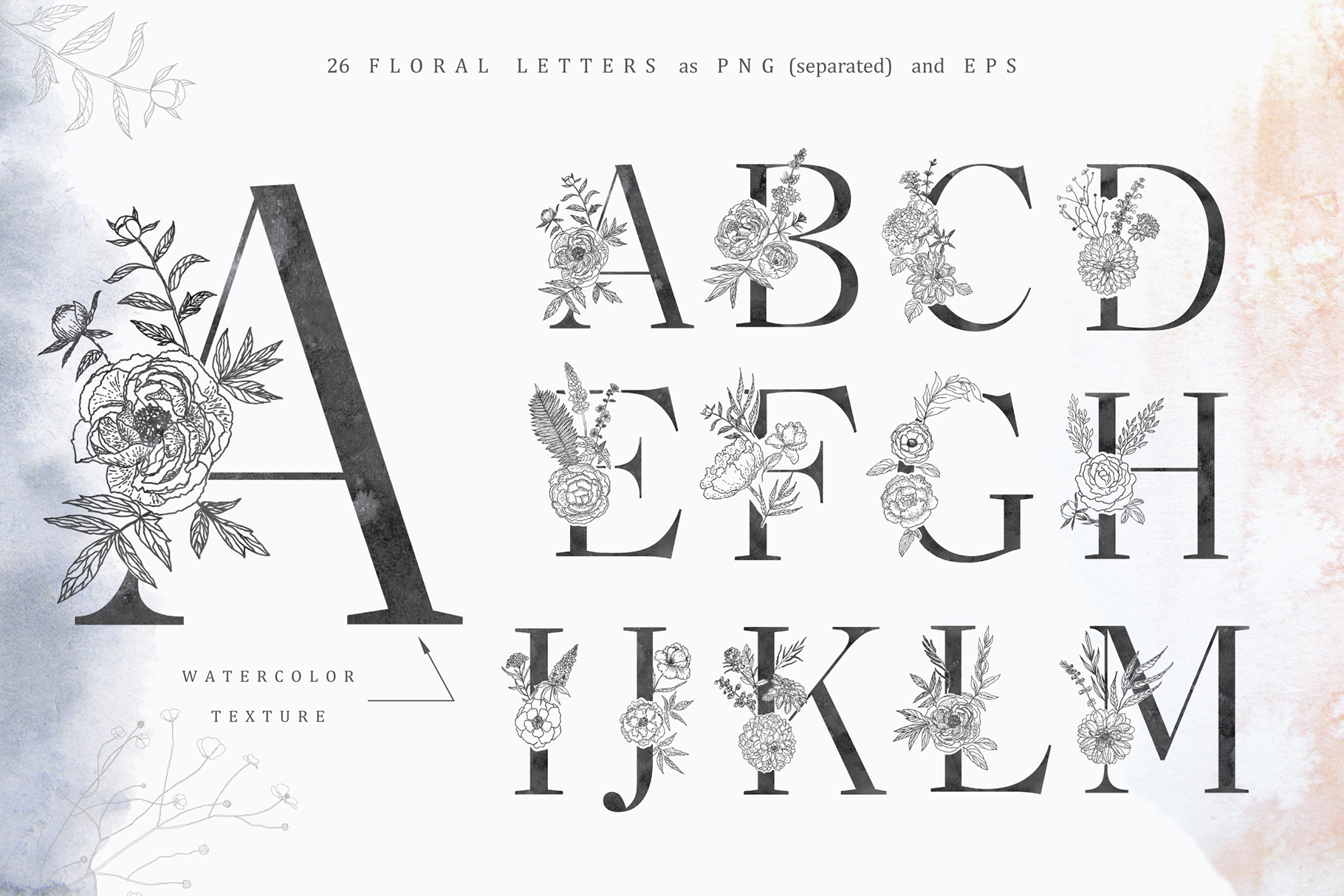 Floral Alphabets Collection. example image 14