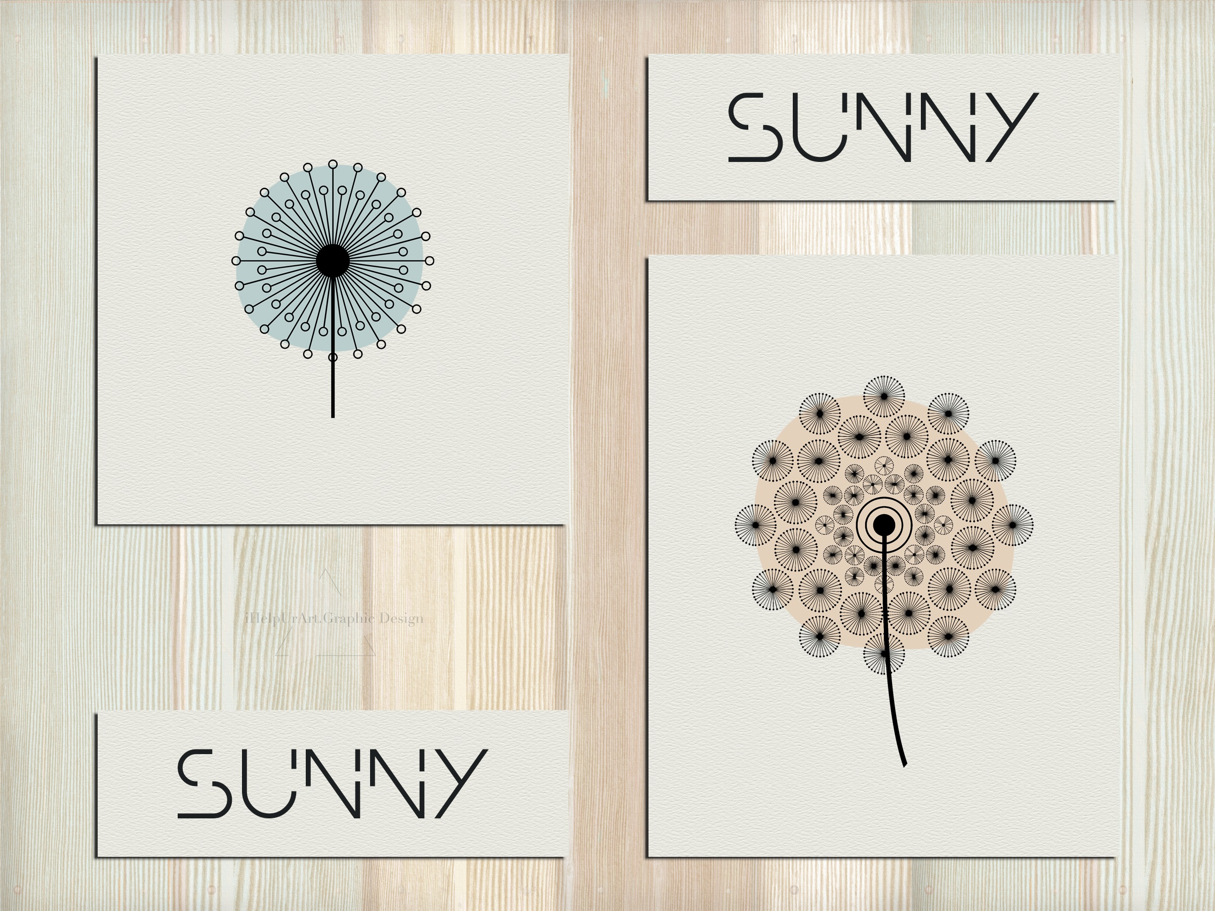 Dandelion Clipart - Floral Design - Modern Abstract Flowers example image 3
