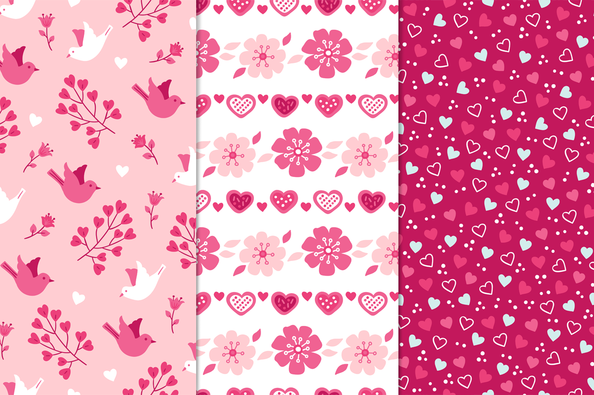 12 Valentine Seamless Patterns example image 3