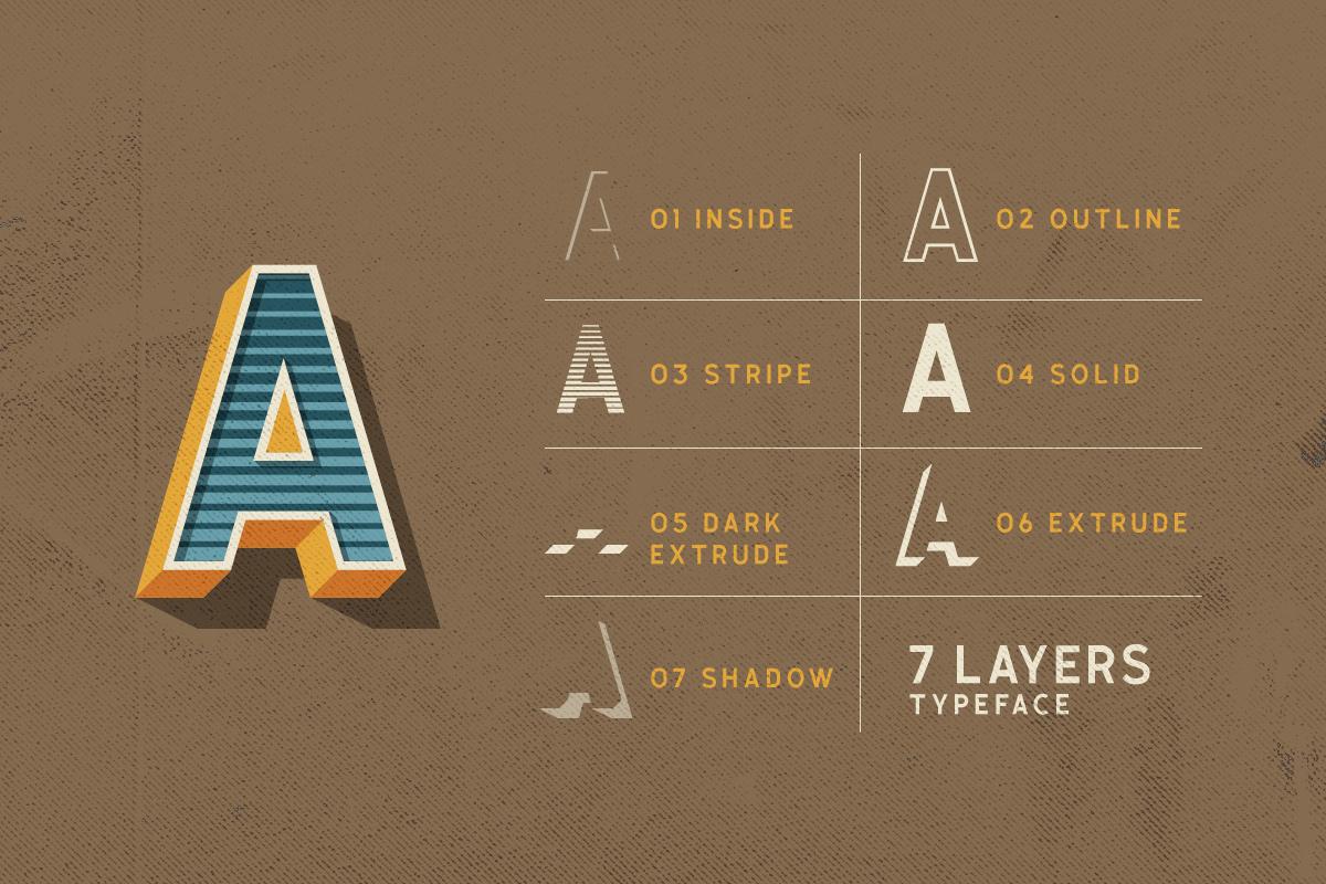 Calasans 7 Layered Font example image 2