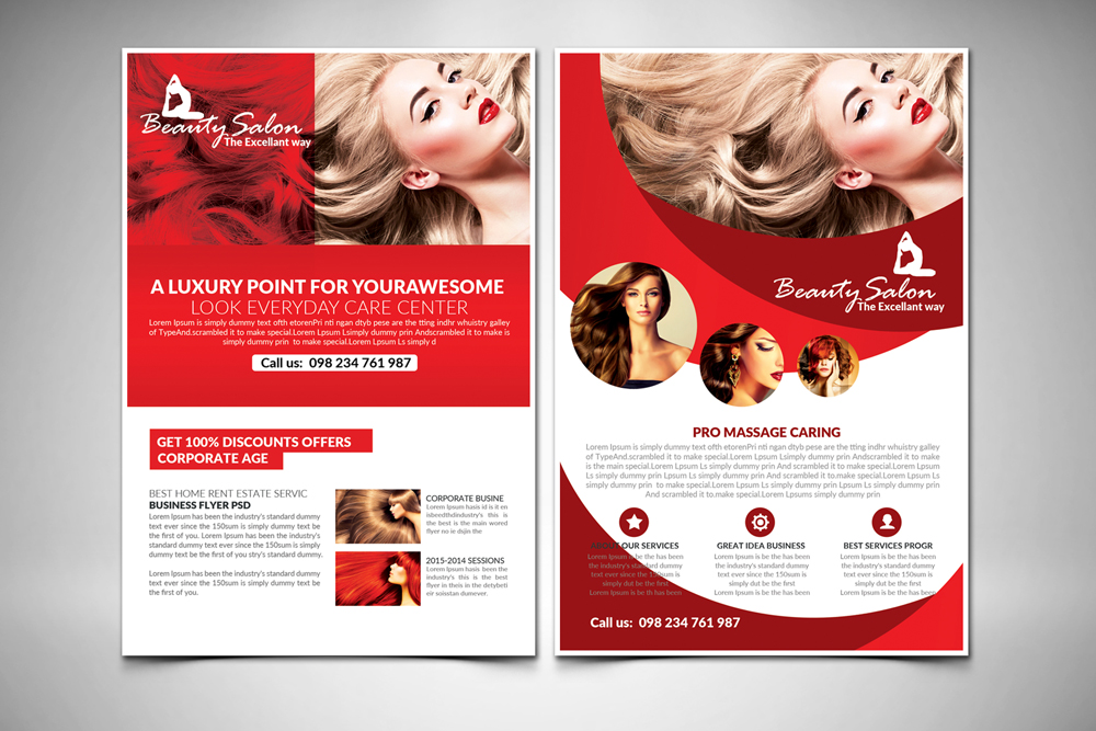 salon care flyer template 2 sided