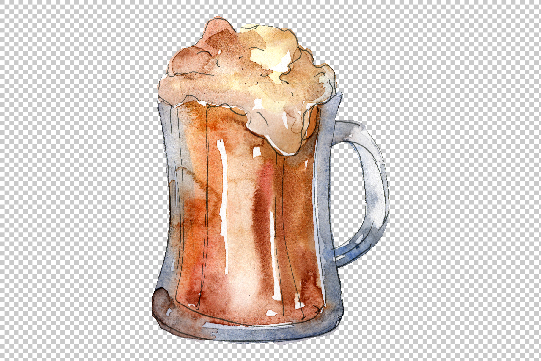 Drinks for men Watercolor png example image 2