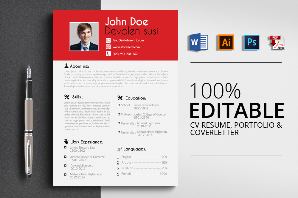 Resume Cv Word Template example image 1