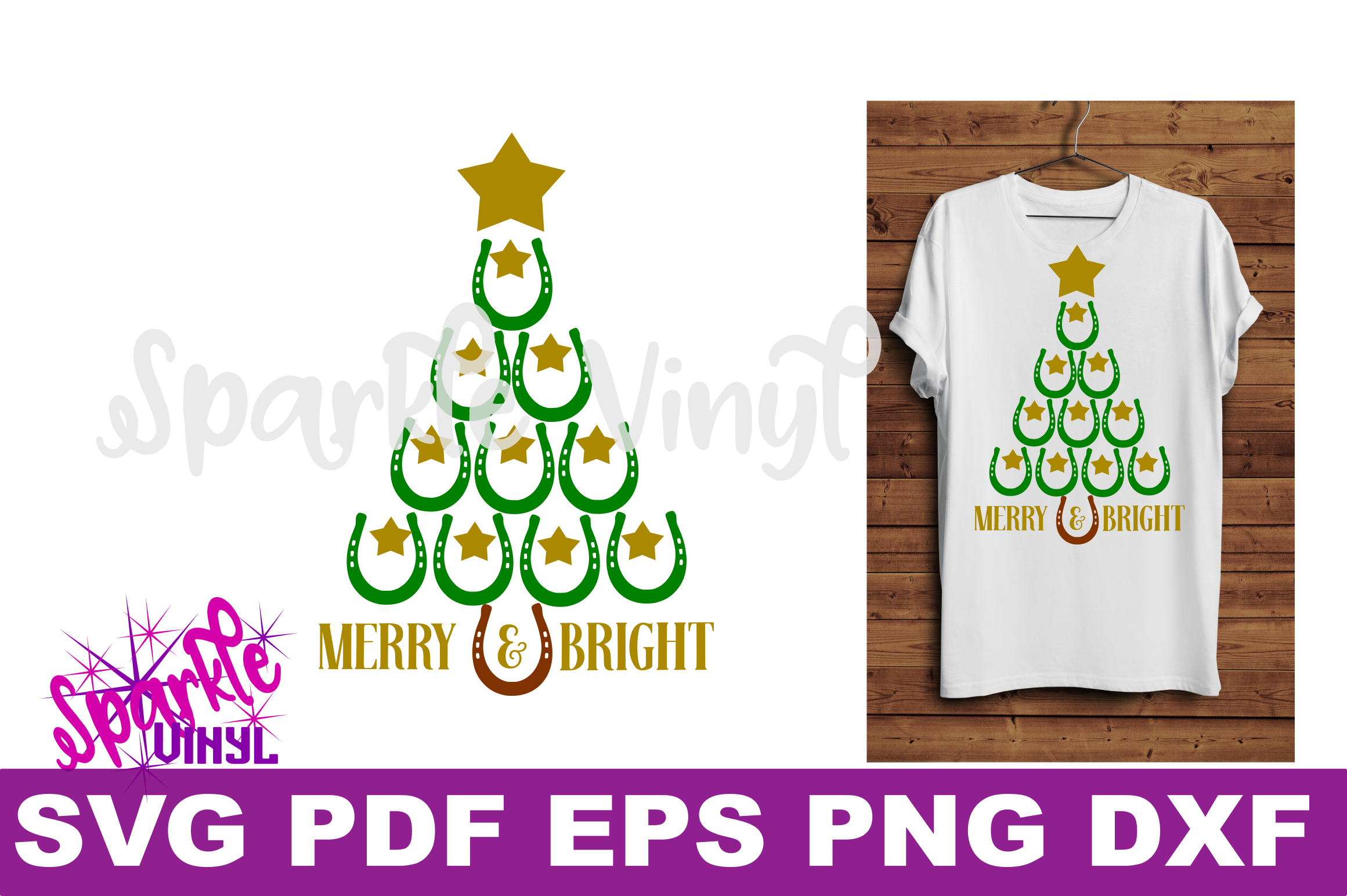 SVG Christmas Cowboy Cowgirl Christmas Horseshoe Tree Merry and Bright Stars Shirt Printable Svg files for cricut silhouette dxf png pdf eps example image 2