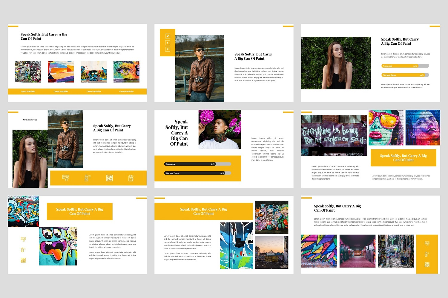 Ganes - Graffiti PowerPoint Template example image 4