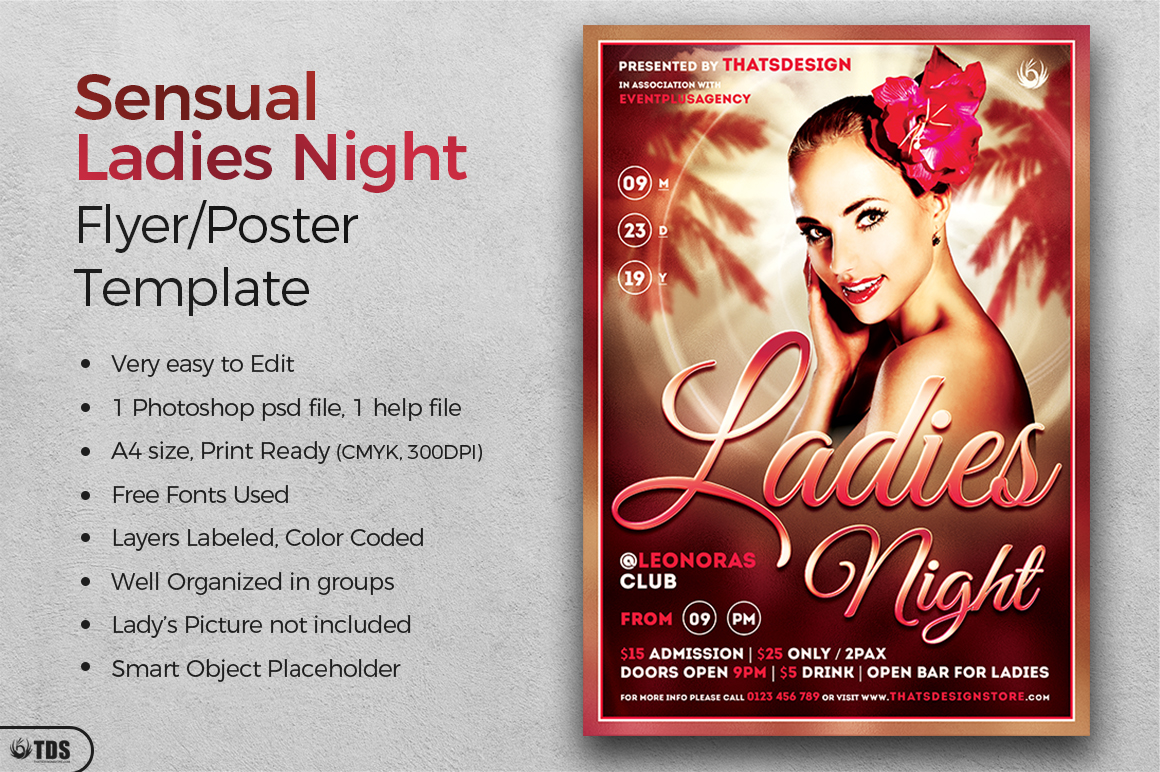 Sensual Ladies Night Flyer Template example image 2