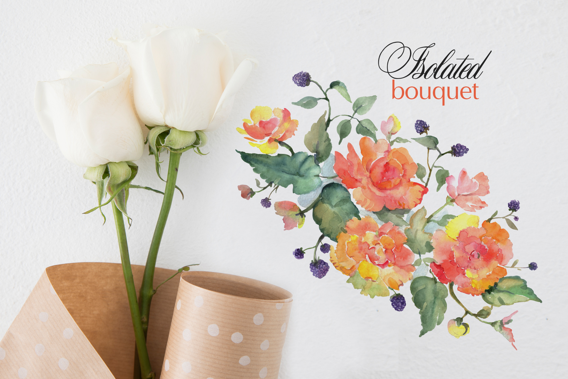Bouquet with orange roses Watercolor png example image 7