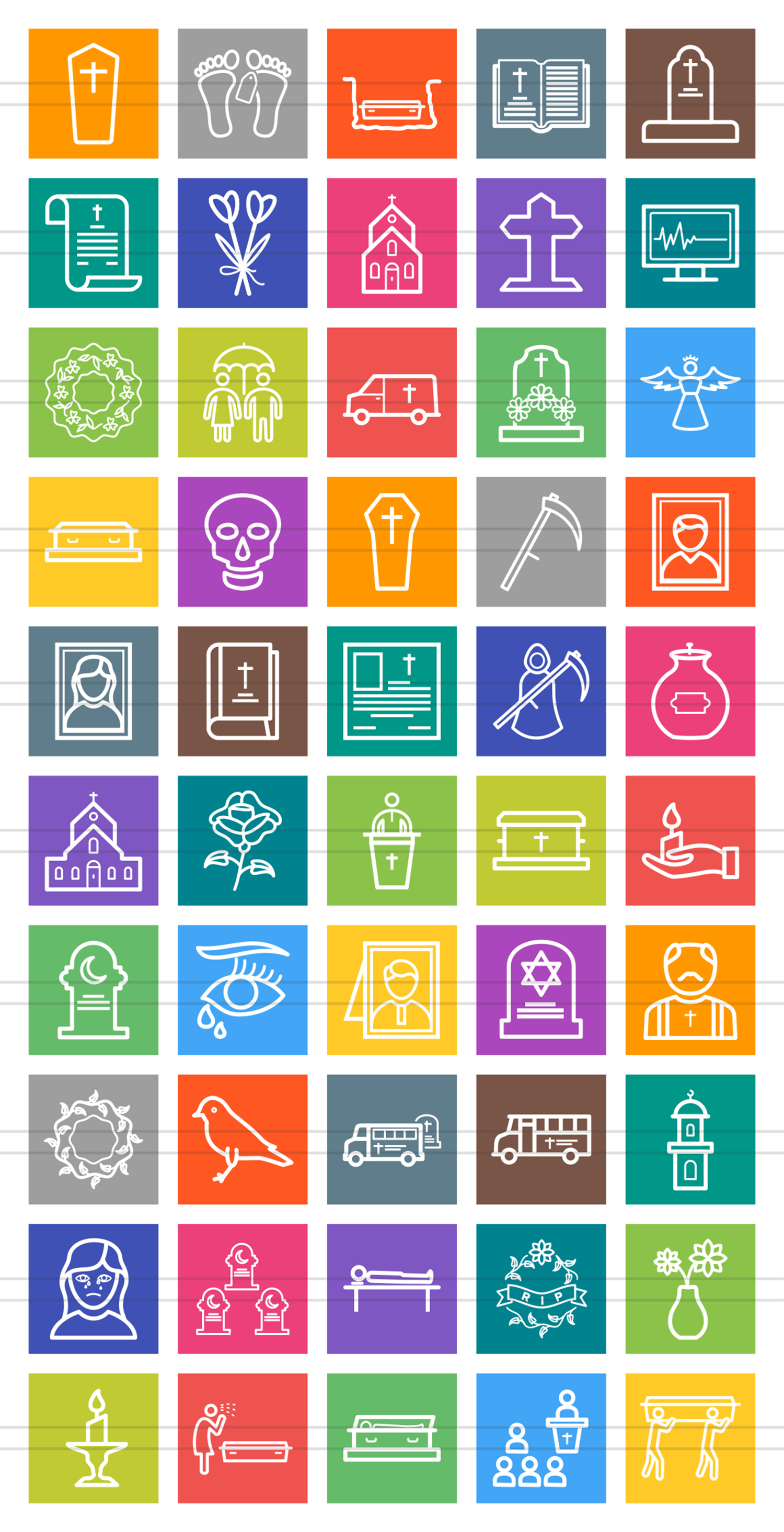 50 Funeral Line Multicolor B/G Icons example image 2