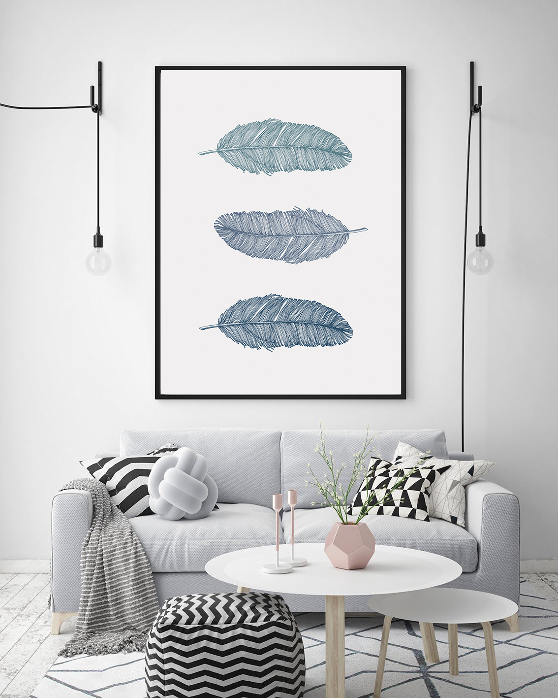 Blue Feather Prints, Bohemian Wall Art Blue, Nursery Poster example image 6