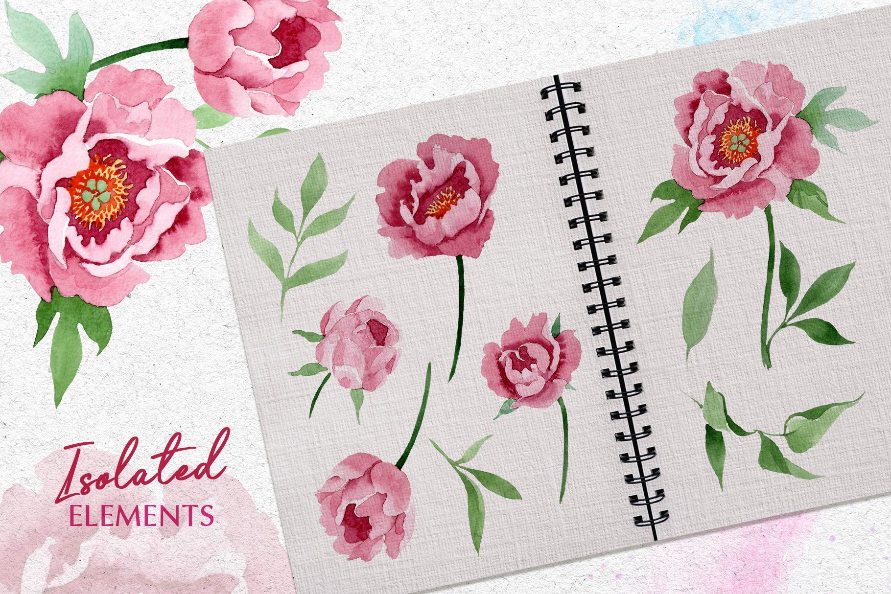 Dark red peony Watercolor png example image 7