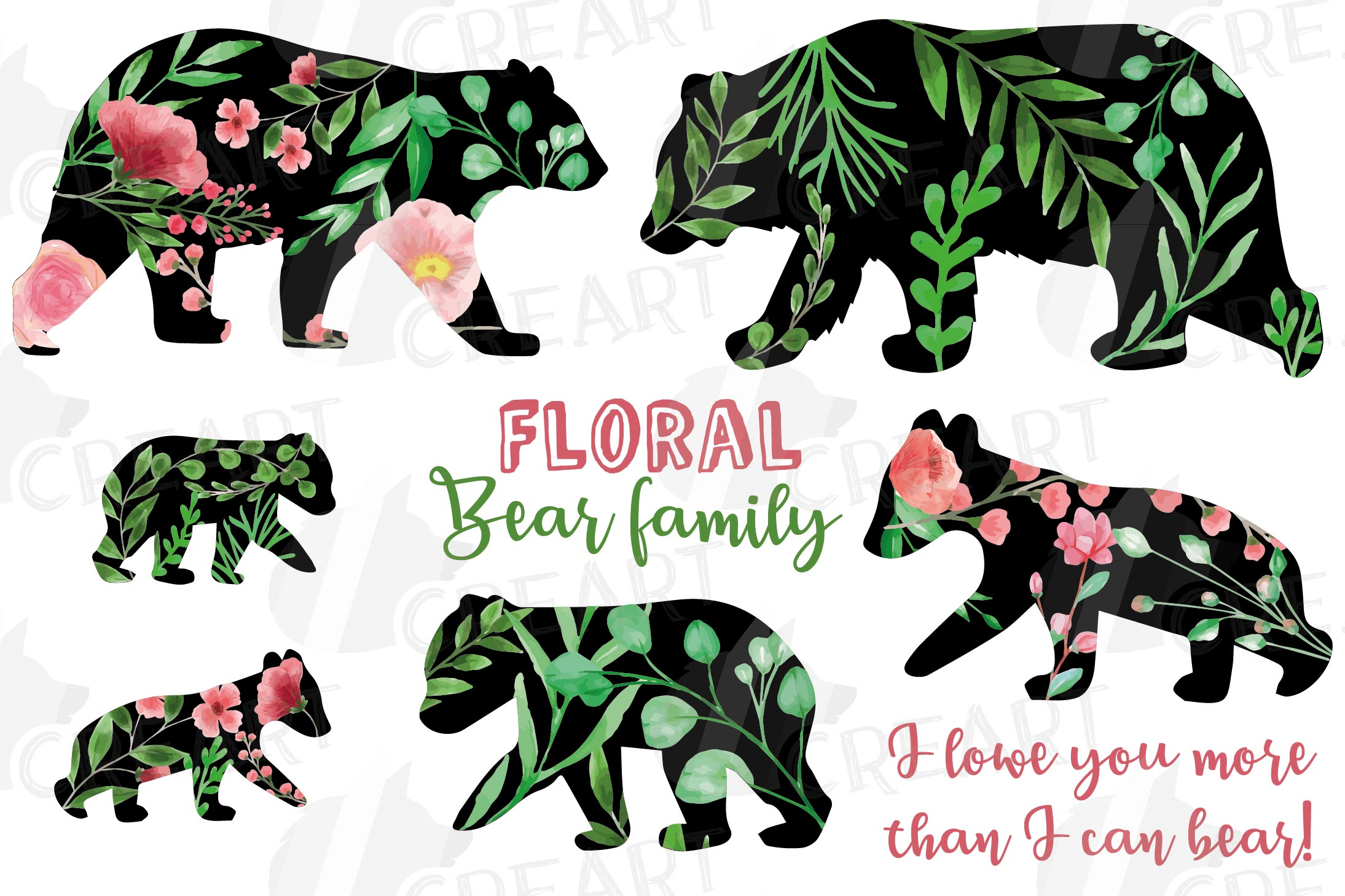 Floral bear family, sister, brother, baby, papa and mama example image 2