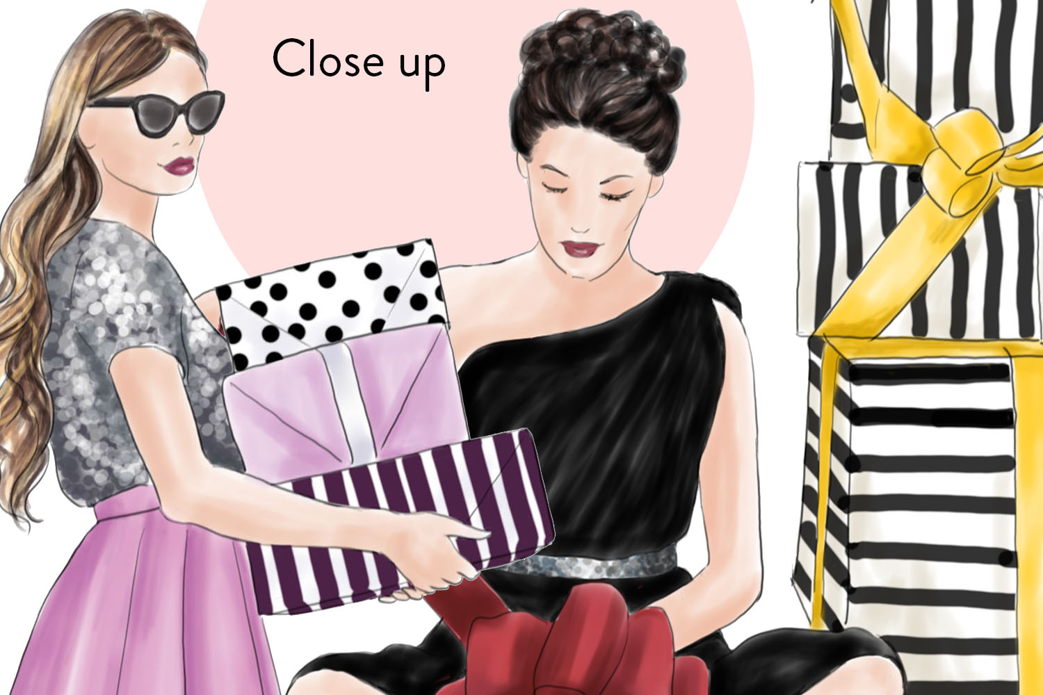 Girls with gifts fashion clipart example image 2