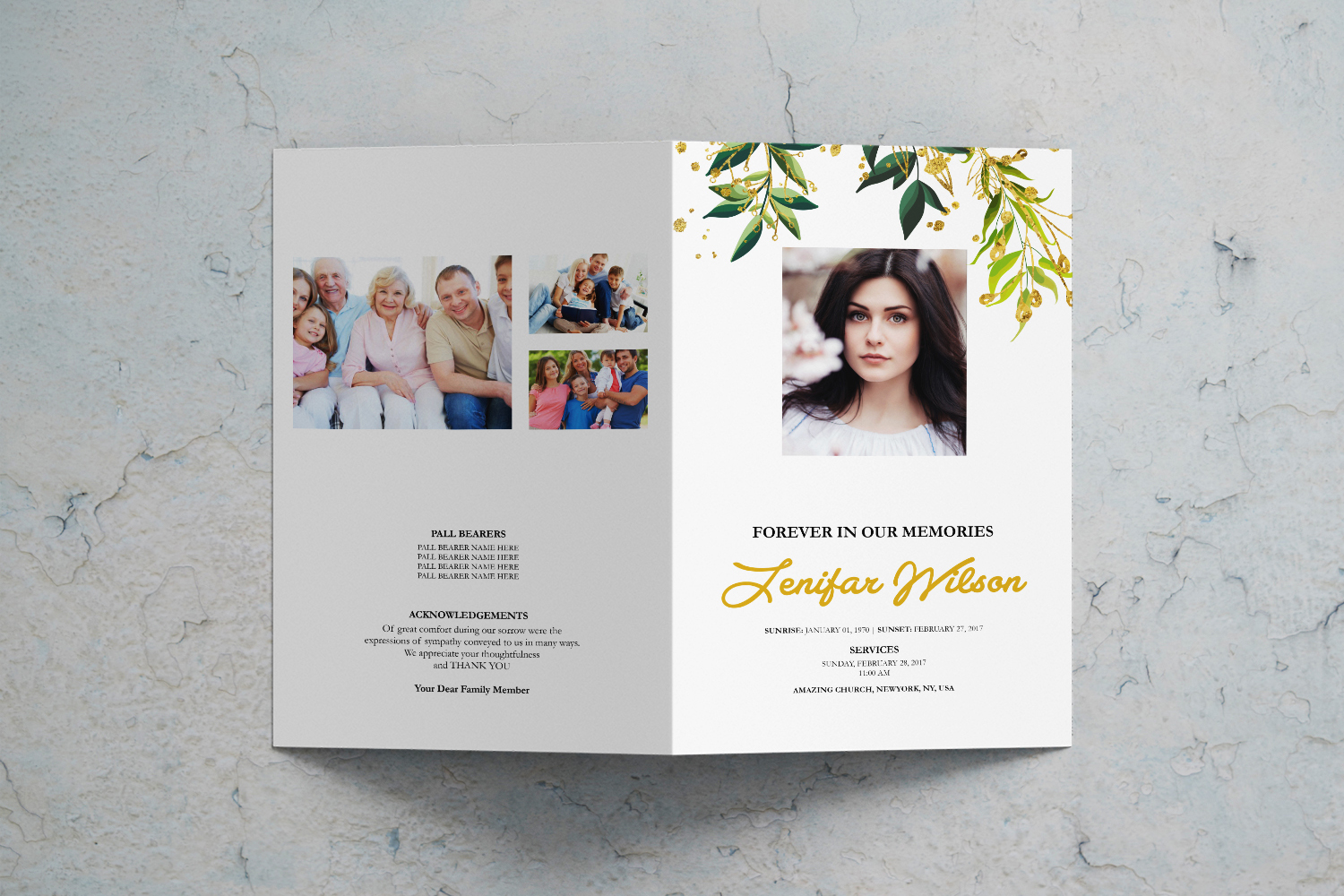Green Leaf Watercolor Funeral Program Template example image 2