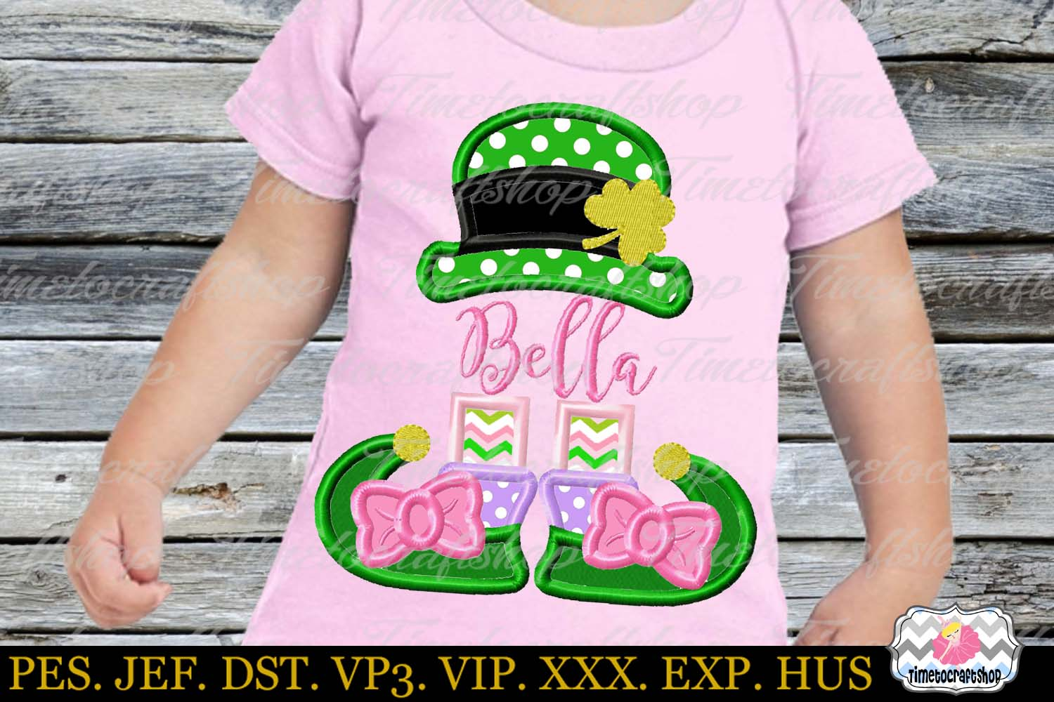St Patricks Day Leprechaun Girl Monogram Applique example image 1