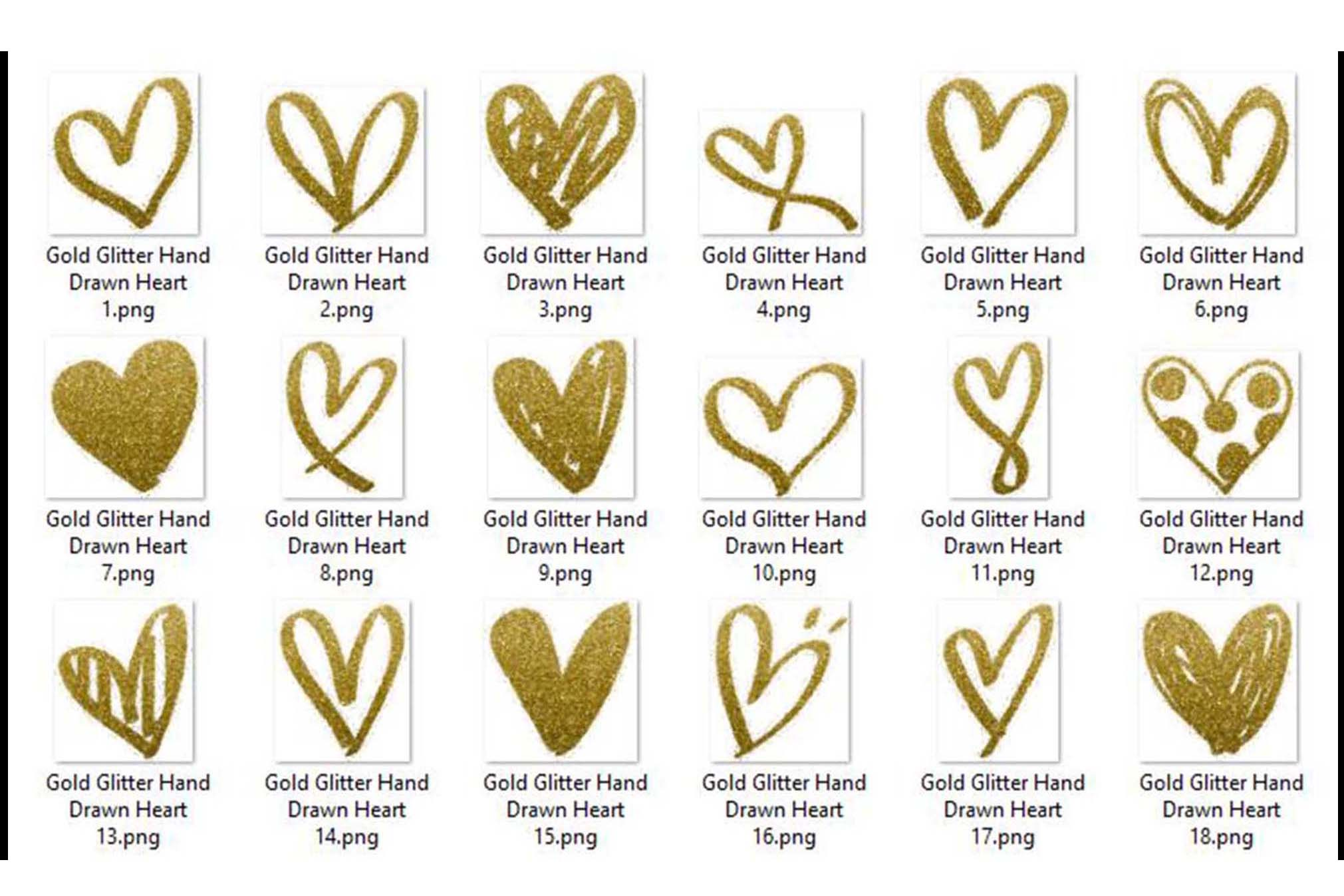 30 Gold Glitter Hand Drawn Heart Clip Arts Wedding Valentine example image 7