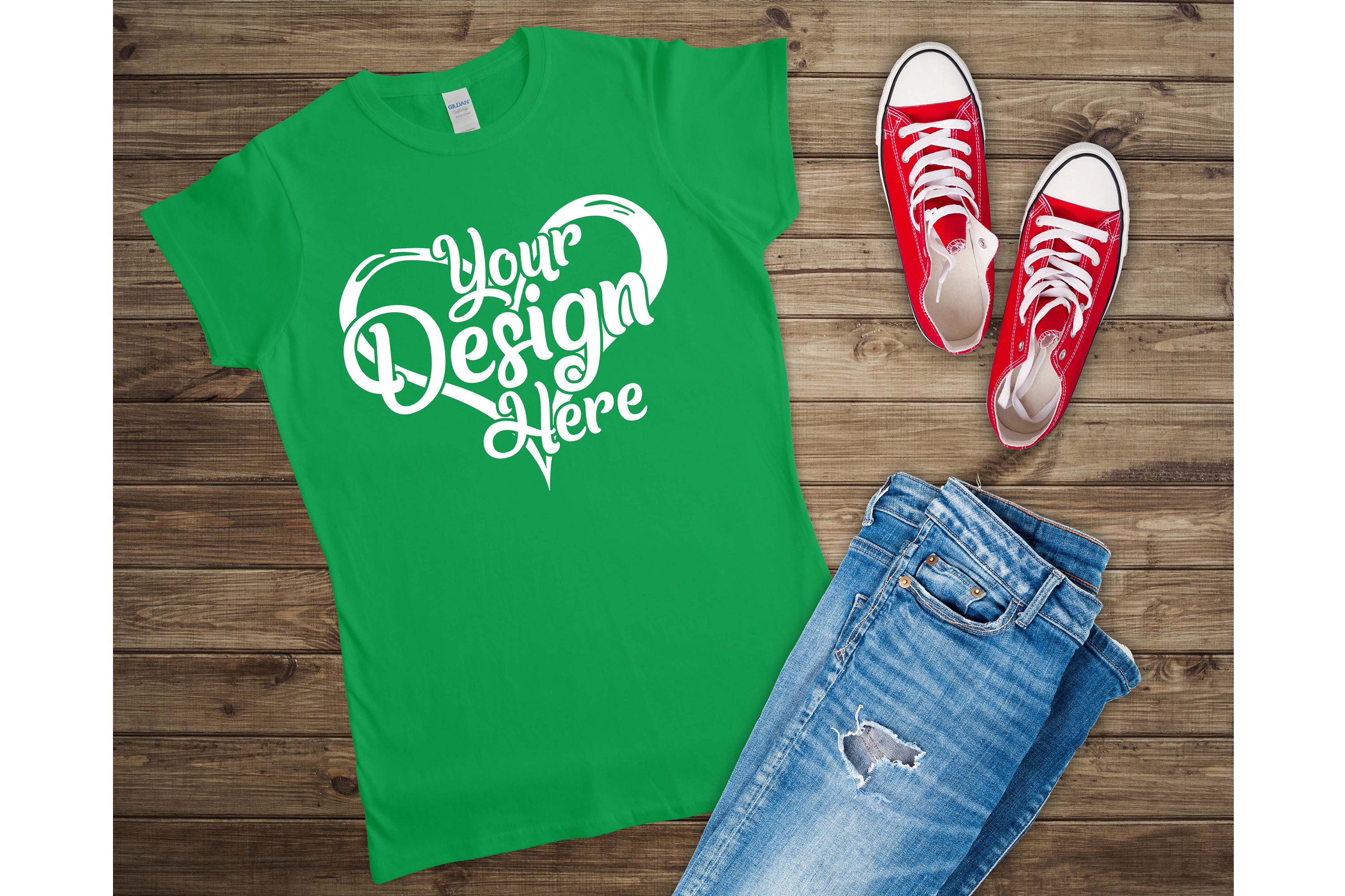Gildan 64000L Ladies T-Shirt Mockup Bundle Flat Lay example image 6