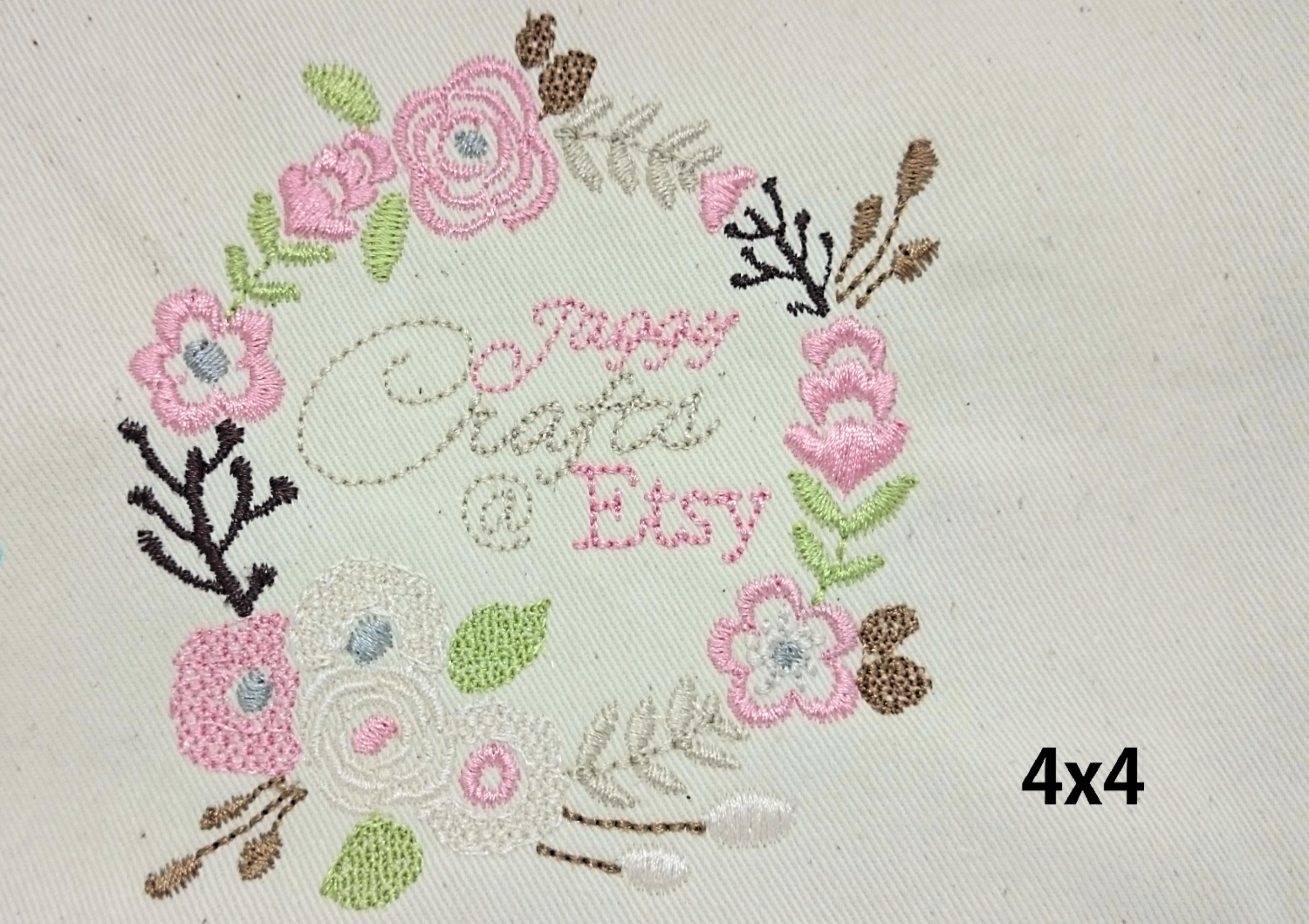 Floral Wreath Font Frame Monogram Design - EMBROIDERY DESIGN FILE - Instant download - Vp3 Hus Dst Exp Jef Pes formats 5 sizes 3,4,5,6,7inch example image 2
