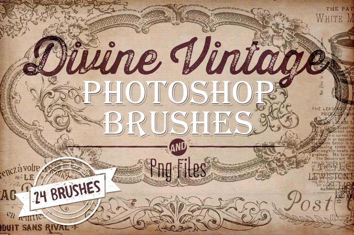 Divine Vintage Illustrations & Photoshop Brushes example image 1