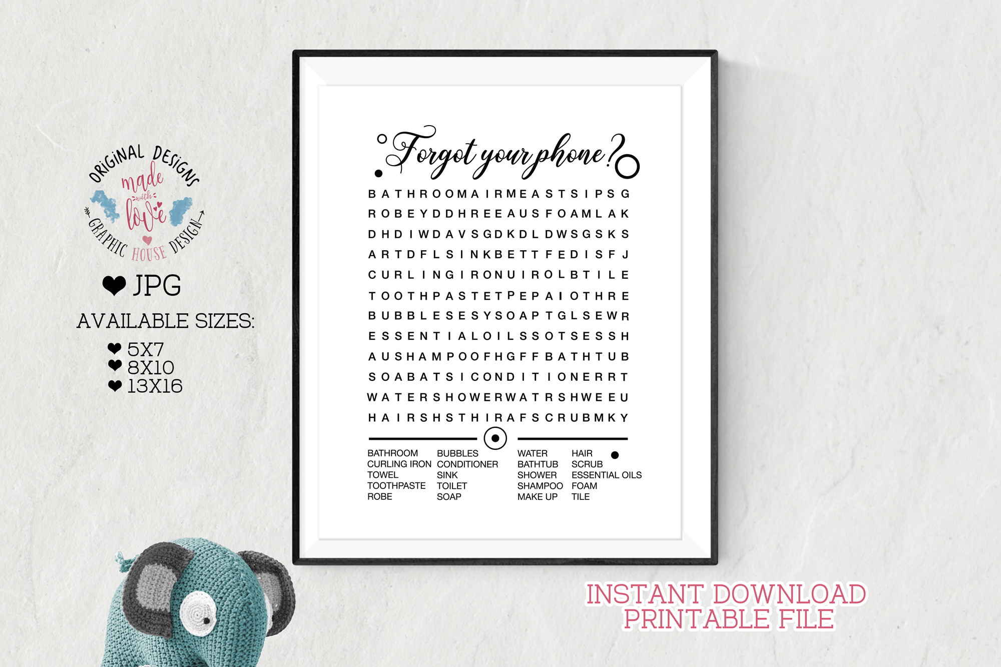 graphic regarding Printable Bathroom Art referred to as Forgot Your Telephone Phrase Glimpse Rest room Artwork Printable