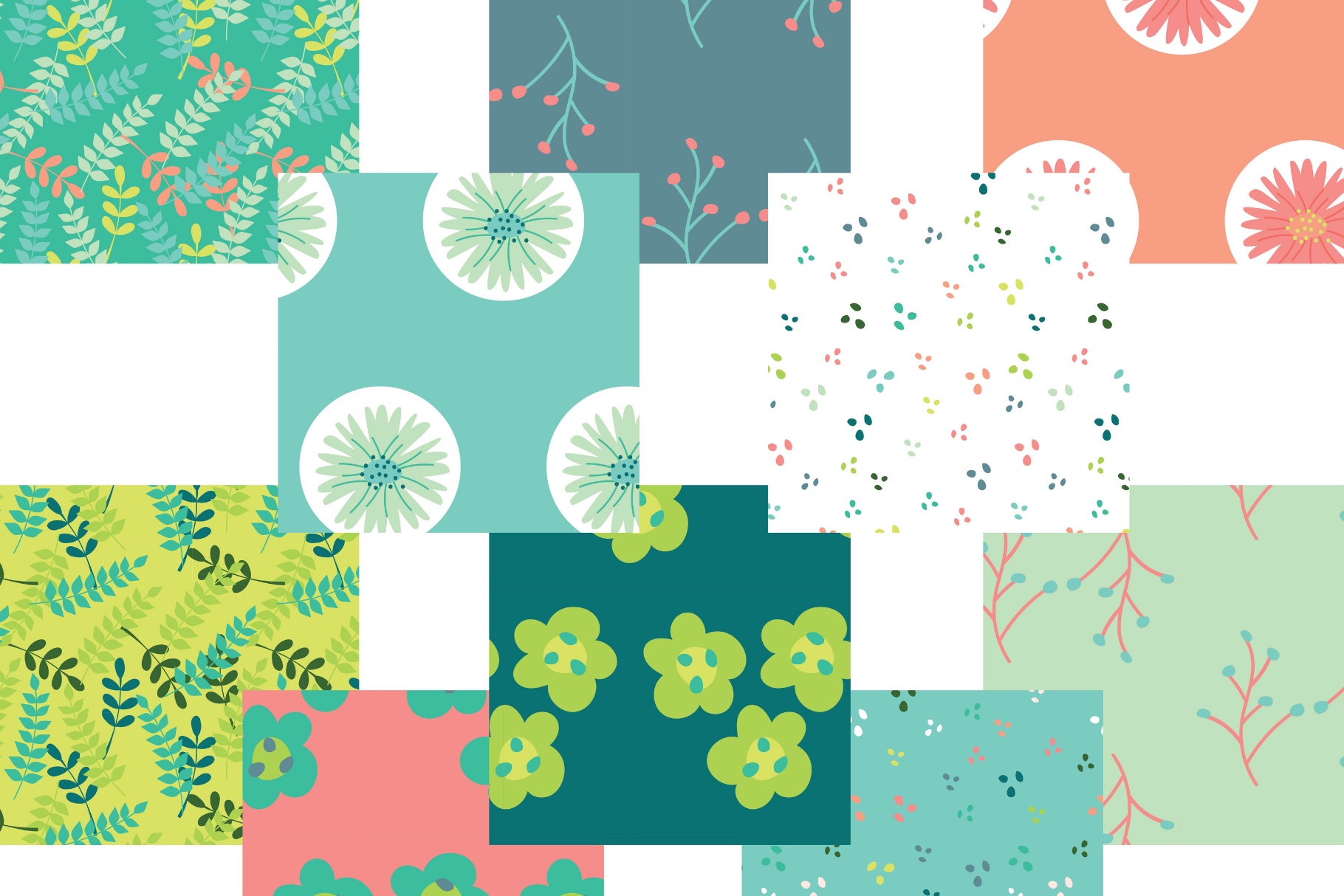 Coral and Mint Floral Digital Paper example image 3