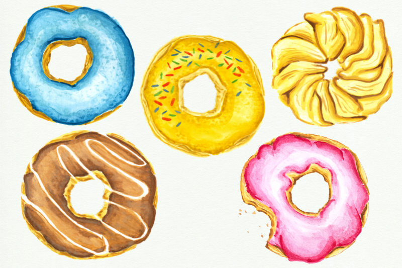 12 Watercolor Donuts Clipart, Pink Cute Donut, Wedding Bake example image 4