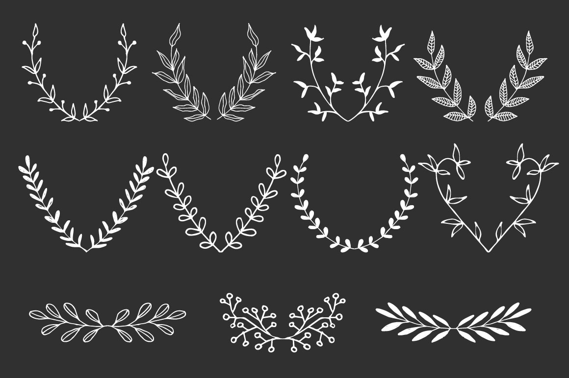 Hand drawn Wreaths and branches  example image 5