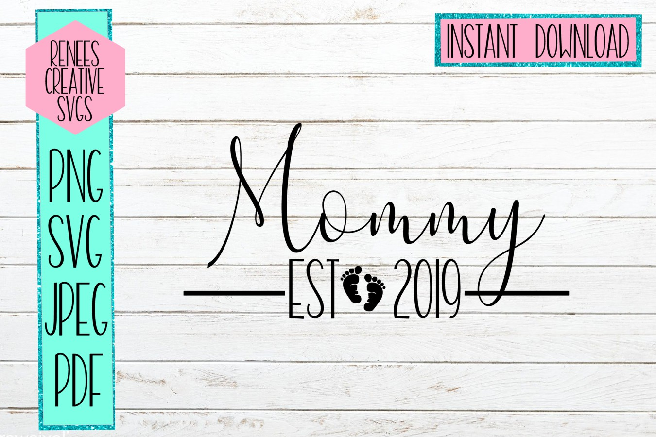 Mommy Est 2019   New parents   SVG Cut File example image 1