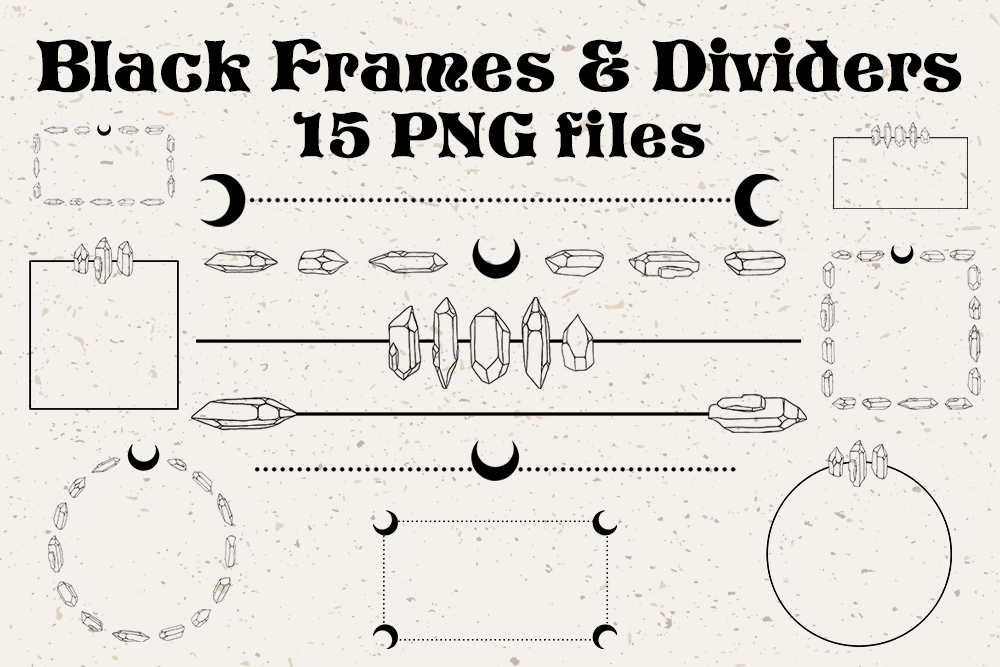 Black Bohemian Frames and Dividers - Crystal Moon Graphics example image 1