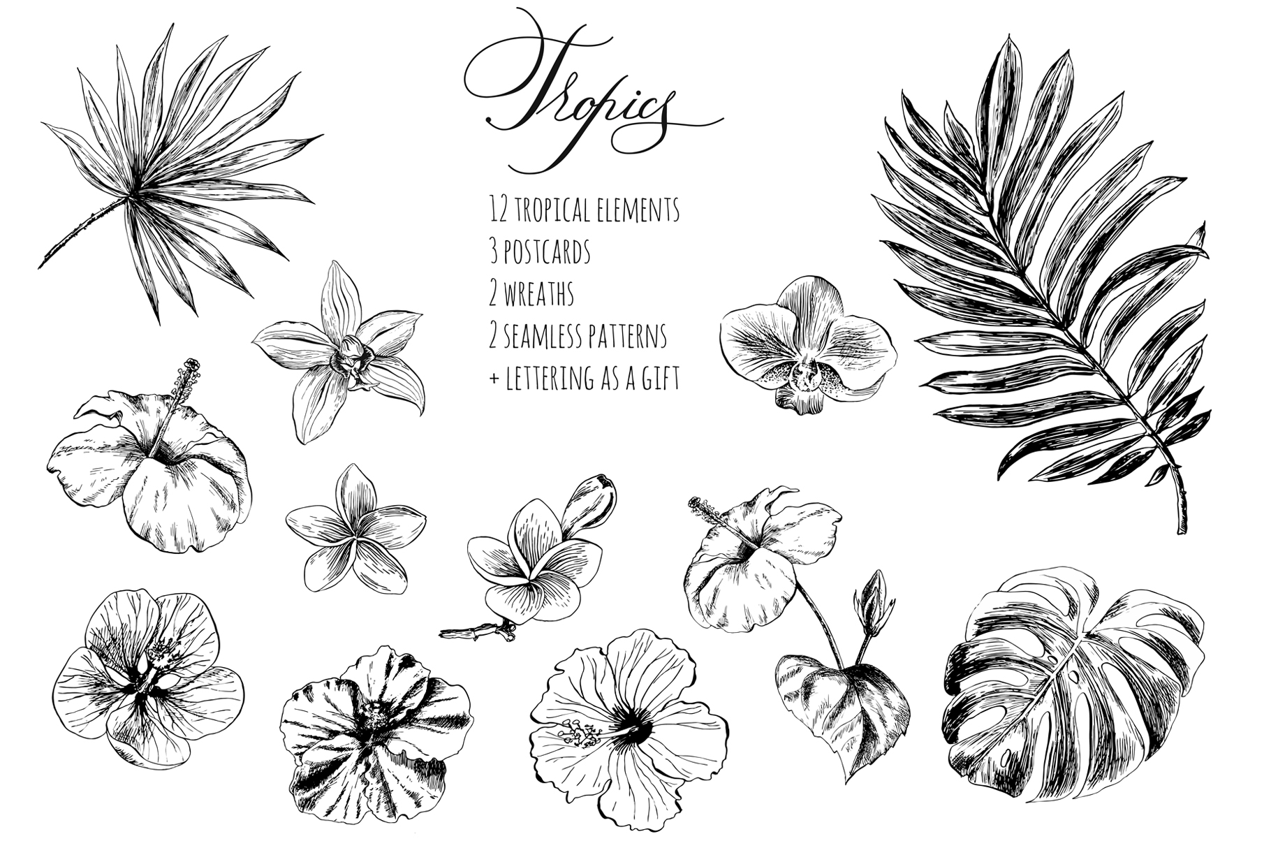 Tropical flowers and leaves example image 2