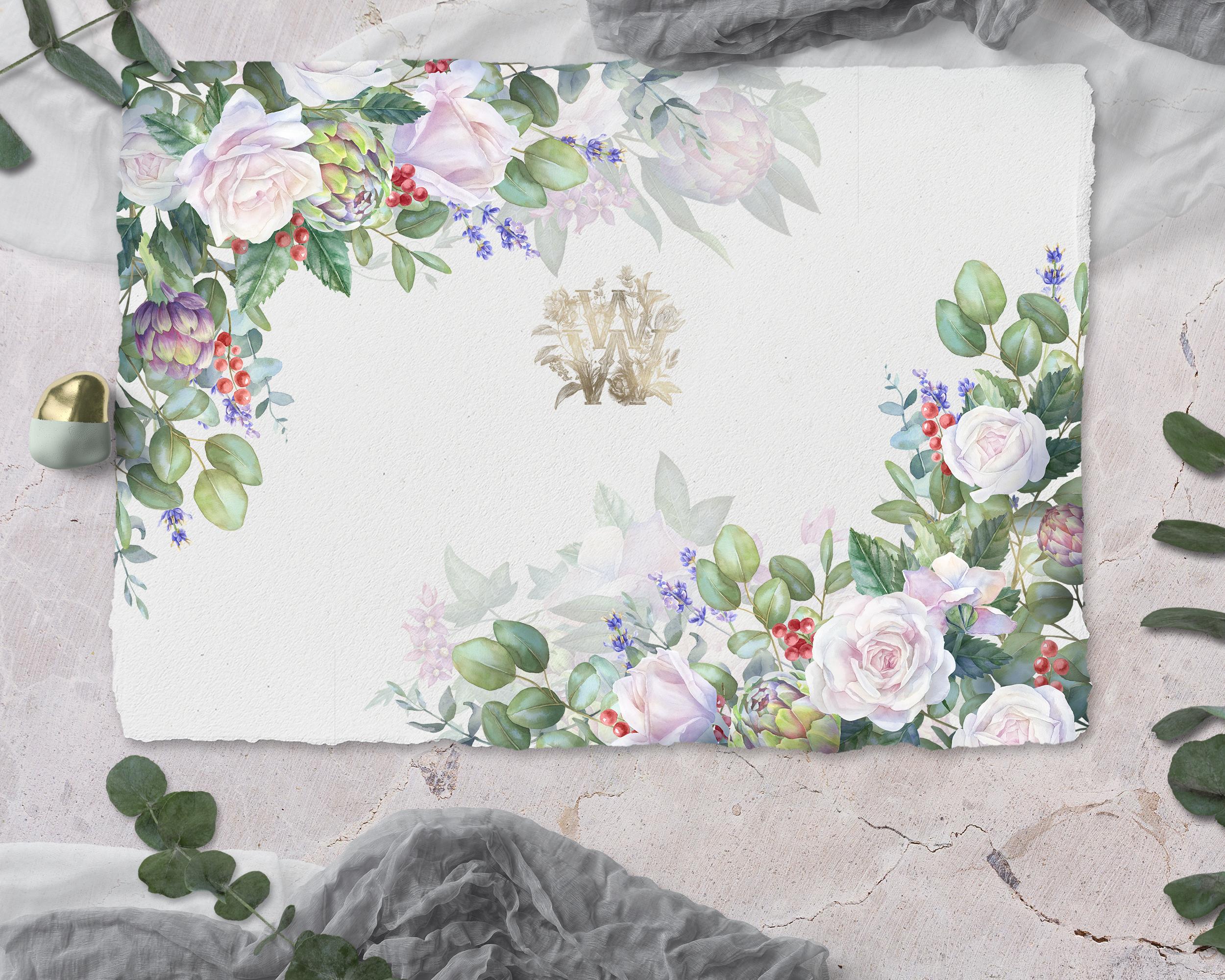 White rose wedding frame clip art example image 6
