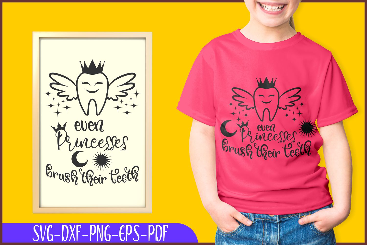 tooth svg | brush teeth | even princesses | cricut cut files example image 1