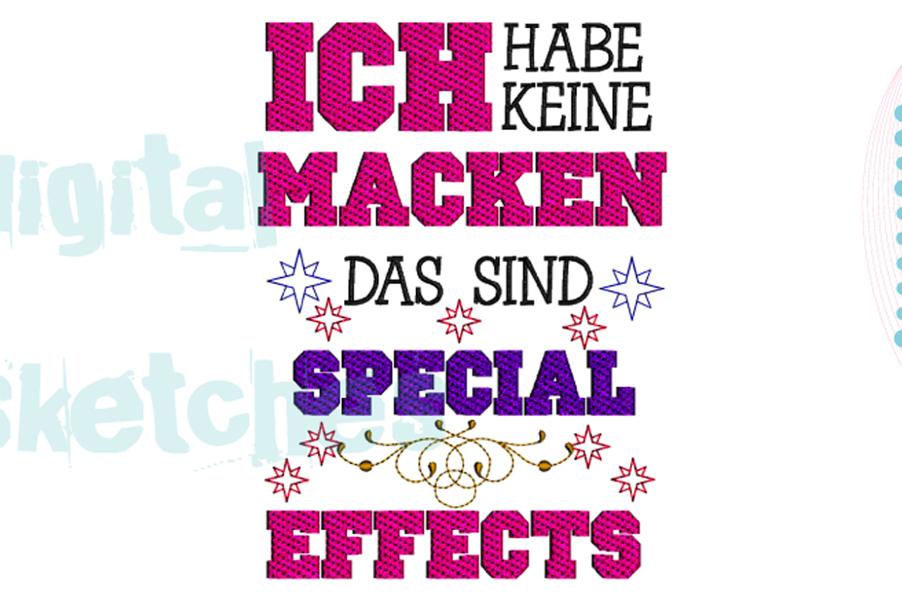 German Saying Special Effects Stars Machine Embroidery example image 1