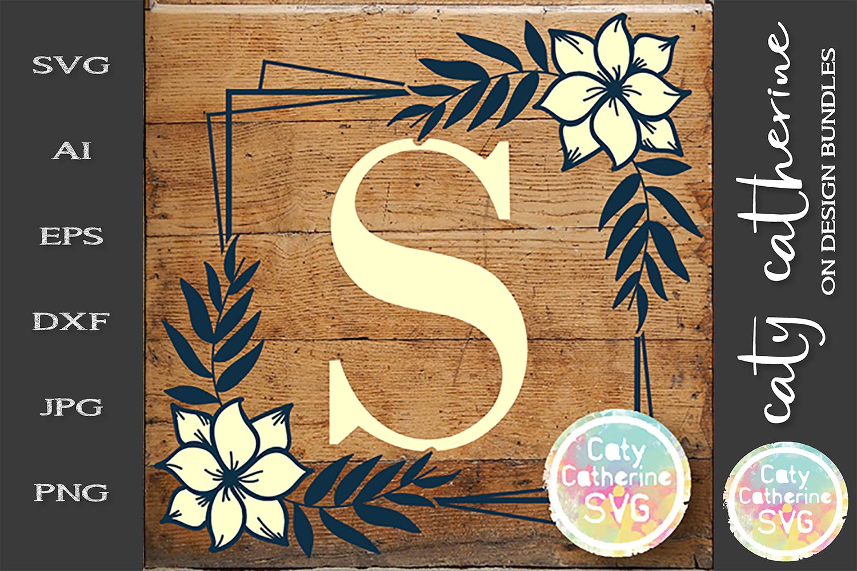 Letter S Floral Monogram Frame SVG Cut File example image 1